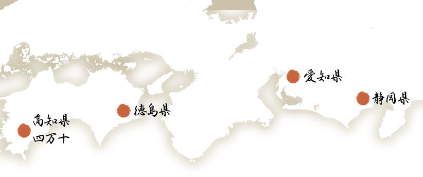 国産うなぎの地図